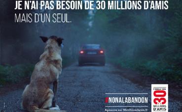 Affiche de la campagne contre l'abandon. Photo (c) Fondation 30 millions d'amis