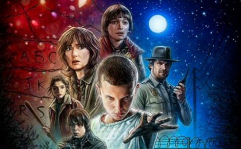 Image partielle de l'affiche de la série Stanger Things.