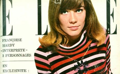 """Françoise Hardy et son """"Poor boy sweater"""" en une du magazine Elle en décembre 1963"""