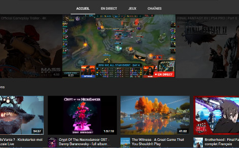 L'accueil de YouTube Gaming. Cliquez pour y accéder
