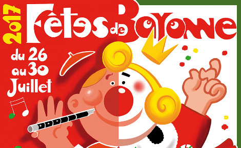 Aperçu de l'affiche officielle des fêtes de Bayonne 2017. Cliquez ici pour accéder directement au site.