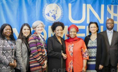 Au centre: la Secrétaire générale de la Francophonie, Michaëlle Jean et Phumzile Mlambo-Ngcuka, Secrétaire générale adjointe de l'ONU chargée de l'égalité des sexes et de l'autonomisation des femmes. Photo (c) Cyril Bailleul / OIF