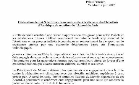 Message officiel (c) Palais Princier