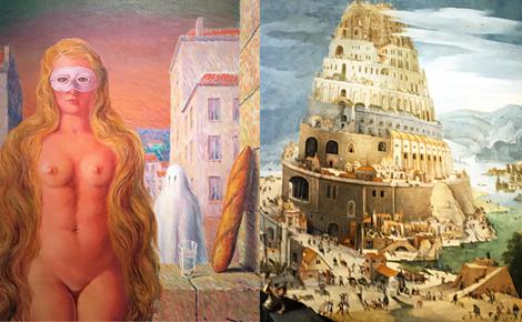 René Magritte et Abel Grimmer. Photo-montage (c) Charlotte Service-Longépé
