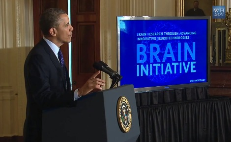 Barack Obama annonce le lancement de BRAIN. Photo (c) Open Knowledge / White House