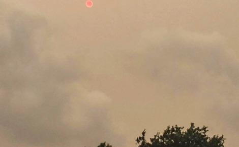 Un soleil masqué et rougeoyant éclairait faiblement le ciel d'une lueur crépusculaire au-dessus du parc de Clapham Common à Londres. Photo (c) Julie Wigdo.
