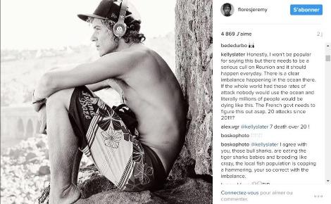 Kelly s'exprime via le compte Instagram de Jérémy Florès au sujet de la régulation des requins sur l'île de la Réunion