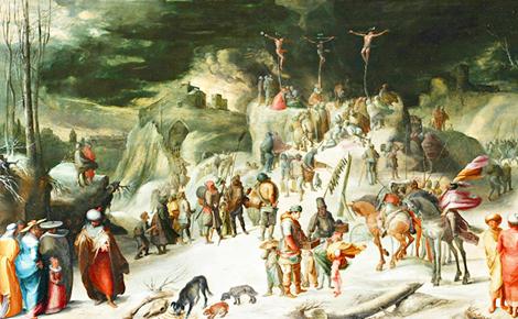 Crucifixion sous la neige par Karl Van Mander. Photo (c) Charlotte Service-Longépé