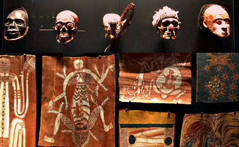 Crânes et peintures aborigènes. Photos et montage (c) Charlotte Service-Longépé
