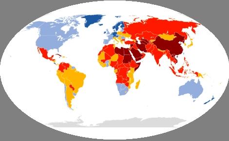 Carte de le liberté de la presse selon le rapport de RSF 2017. Cliquez ici pour la consulter le site officiel