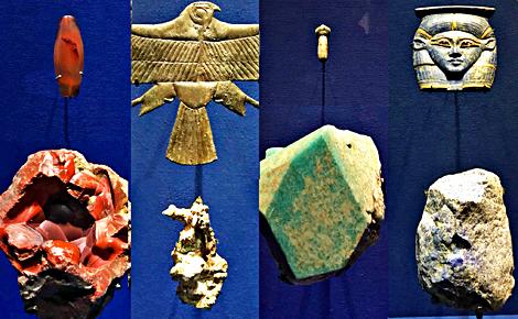 Cornaline, or, turquoise, lapis Lazulis, Photos montage (c) Charlotte Service-Longépé