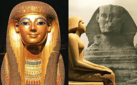 Masque funéraire de Touya et statue. Photos Montage (c) Charlotte Service-Longépé