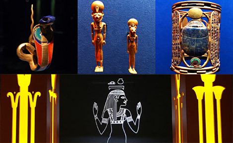 Exposition L'or des Pharaons, détails. Photos Montage (c) Charlotte Service-Longépé