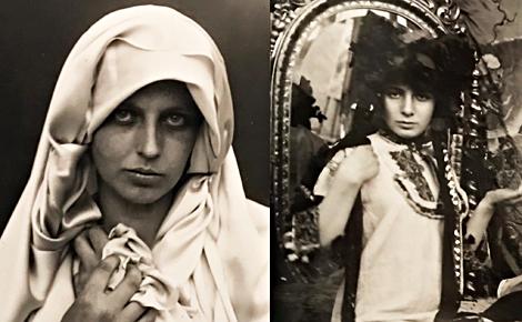 Jeune bohémienne en blanc et modèle posant dans l'atelier de Mucha. Photos des clichés exposés (c) Charlotte Service-Longépé