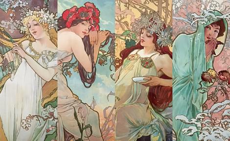 Les quatres saisons peintes par Mucha (1896). Photos et montage (c) Charlotte Service-Longépé