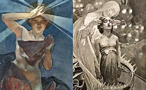 """""""L'étoile du matin"""" (1902) et """"7e page allégorique du Pater"""" (1899). Photos et montage (c) Charlotte Service-Longépé"""