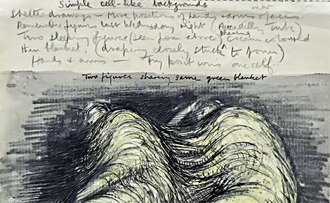 Dessin esquissé et annoté pendant le blitz à Londres qui influencera ses futures sculptures. Photo (c) Charlotte Service-Longépé