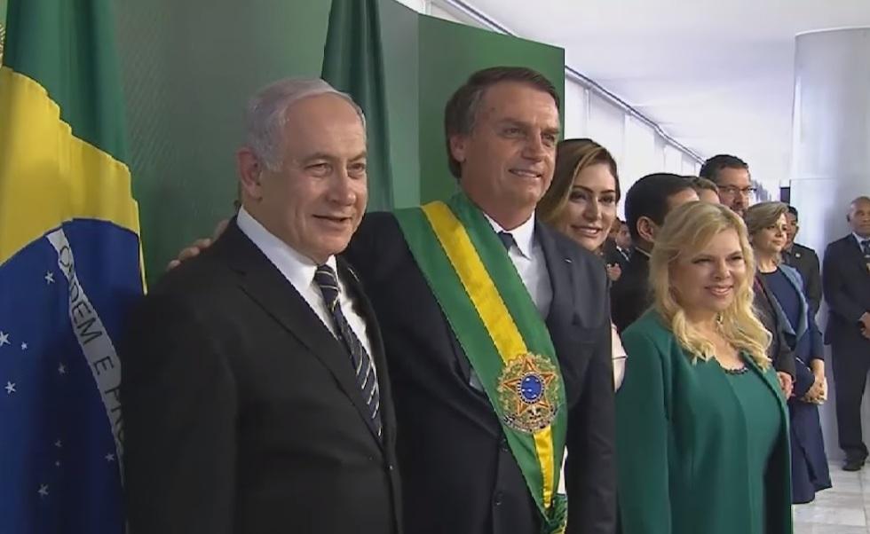 Benjamin Netanyahu et Jair Bolsonaro le 1er janvier 2019 (c) Record TV.