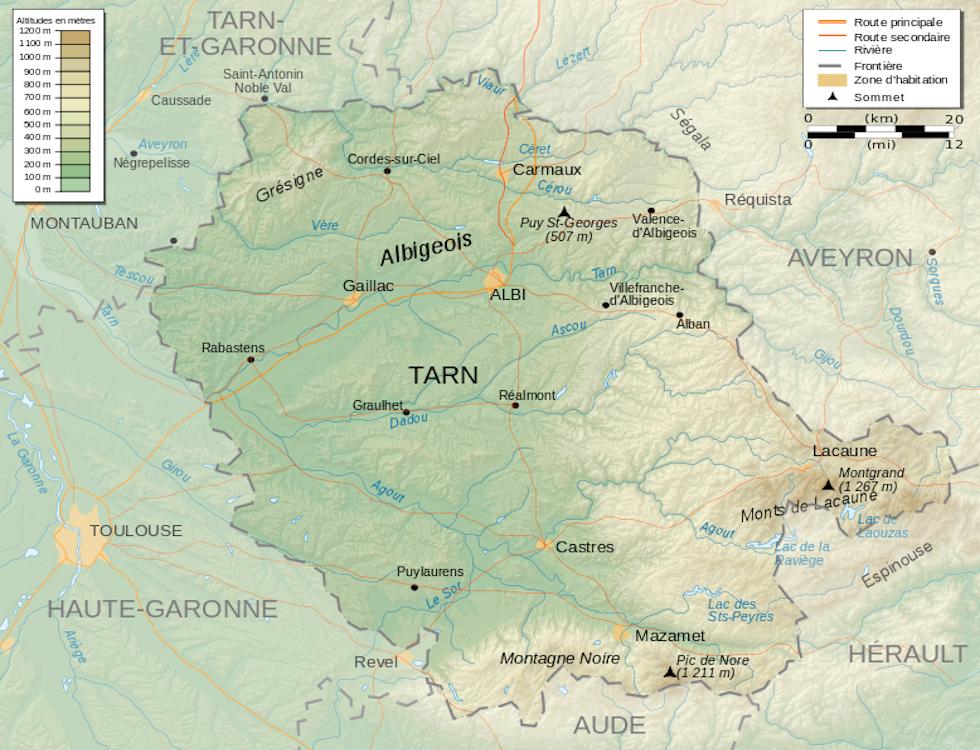 Carte de la région du Tarn (c) Wikimédia