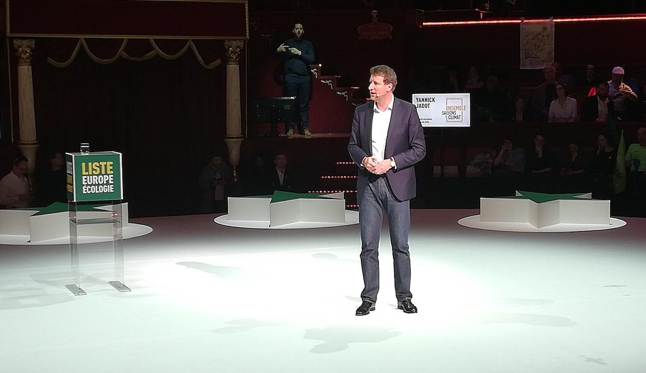 Yannick Jadot en meeting le 21 mai 2019 au Cirque d'hiver. Photo (c) Isabelle Lépine