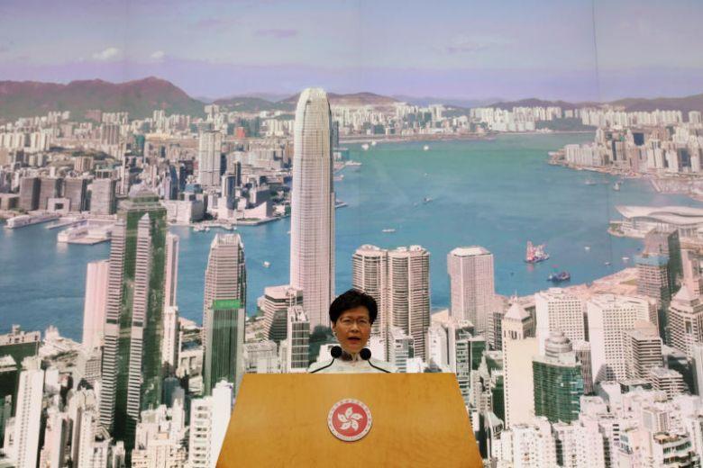 Carrie Lam, la cheffe de l'exécutif hongkongais s'exprime durant la conférence de presse du 15 juin 2019 (c) Reuters