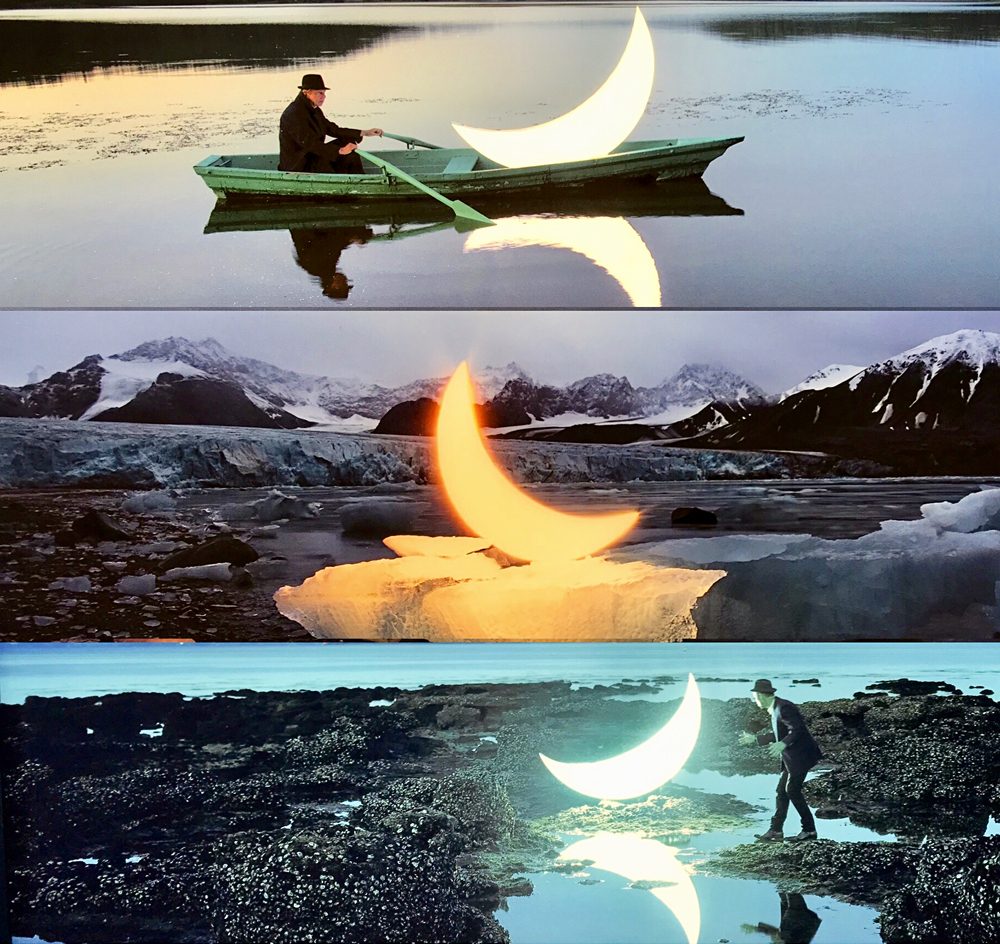 Private Moon, 2003-2017, Leonid Tishov (pléxiglass et caissons lumineux). Photo montage (c) Charlotte Longépé.