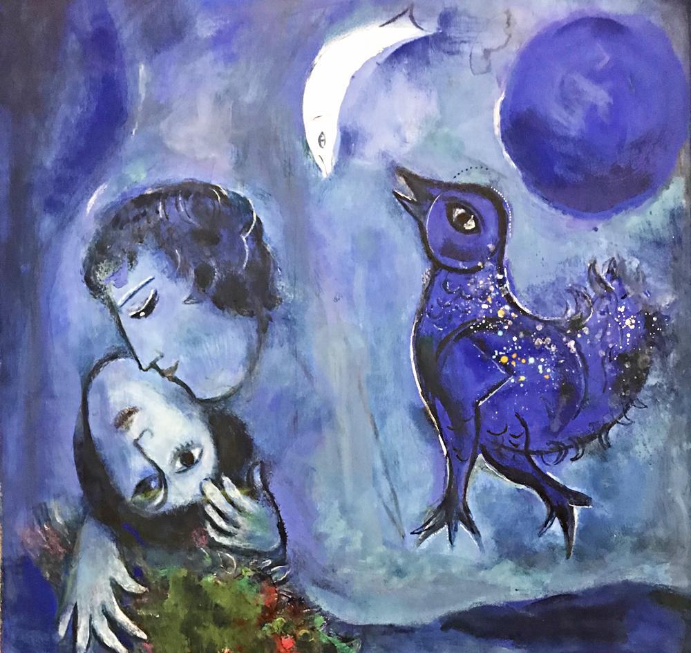 Le Paysage bleu, 1949 (gouache sur papier), Marc Chagall. Photo (c) Charlotte Longépé.