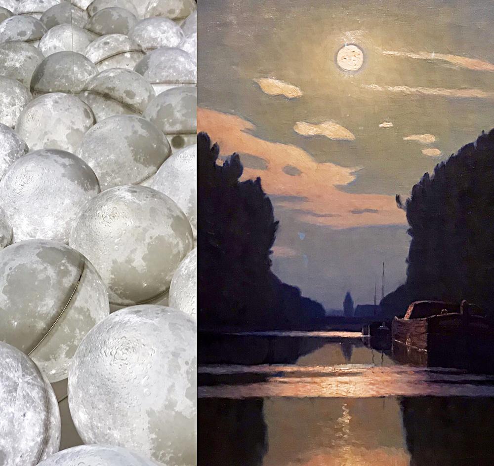 Globes lumineux Ange Leccia; Lever de Lune sur un canal vers 1900 (huile) Charles Guilliux. Photo montage (c) Charlotte Longépé.