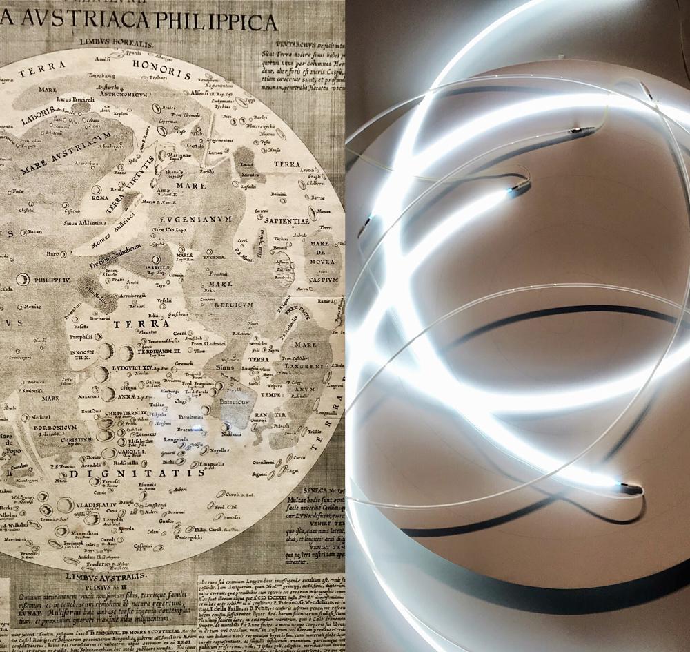 Pleni lunii Lumina austriaca Philippica (carte imprimée) 1645, Michael Florentius Van Langren; Lunatique neonly n°3, 1997,François Morellet. Photo montage (c) Charlotte Longépé.