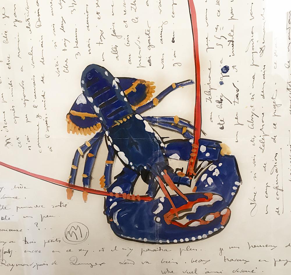 """Exemple de lettre écrite par Mathurin Méheut; ce homard bleu illustra aussi le livre """"Regarde"""" de Colette (1929). Photo (c) Charlotte Longépé."""