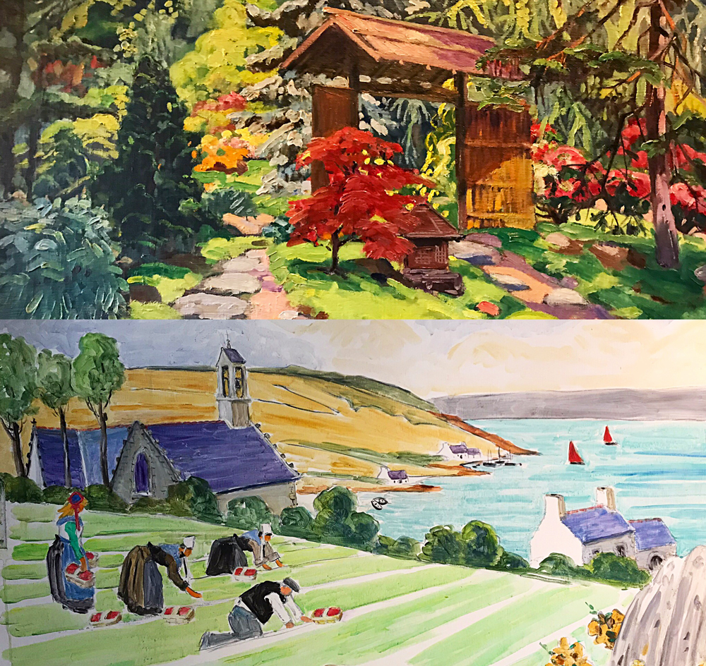 Jardin d'Albert Kahn 1930 (caséine sur toile); scène typique de Bretagne (peinture murale). Photo montage (c) Charlotte Longépé.