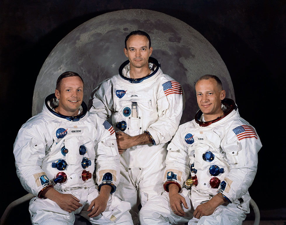 L'équipage d'Apollo 11 : Neil Armstrong, Michael Collins, Edwin E. Aldrin. Photo (c) NASA Human Space Flight Gallery