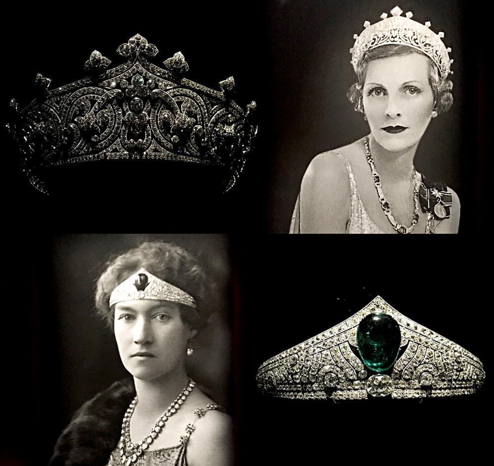 Diadème aux fleurons (platine et diamants) d'Edwina, comtesse Mountbatten de Birmanie pour le couronnement de George VI en 1937 (en haut), diadème Art déco avec cabochon d'emeraude de 45 carats de la Grande duchesse Charlotte de Luxembourg en 1926. Photos montage (c) Charlotte Longépé.
