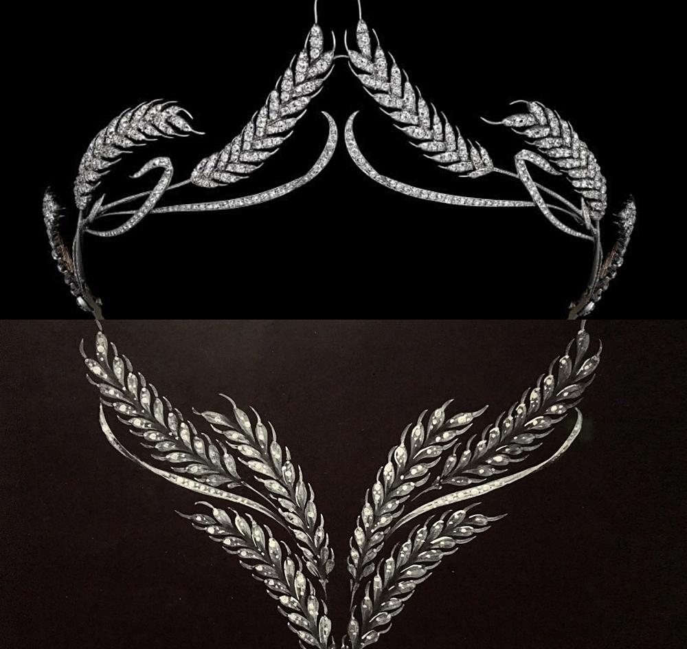 """Diadème épis de blé dit """"Crèvecoeur"""" transformable en devant de corsage (or et diamants) 1810. Photos montage (c) Charlotte Longépé."""