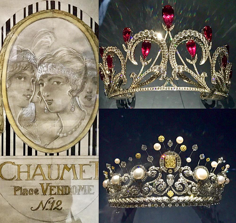 Étude pour affiche vers 1920, diadème à enroulements aux poires de rubellites 2015, diadème lumières célestes 2017. Photos montage (c) Charlotte Longépé.