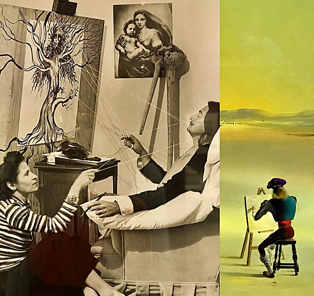 Gala et Salvator Dali à Pebble Beach, Californie 1947, détails du tableau Eléments énigmatiques dans un paysage, huile sur toile, 1934. Photos montage (c) Charlotte Longépé.