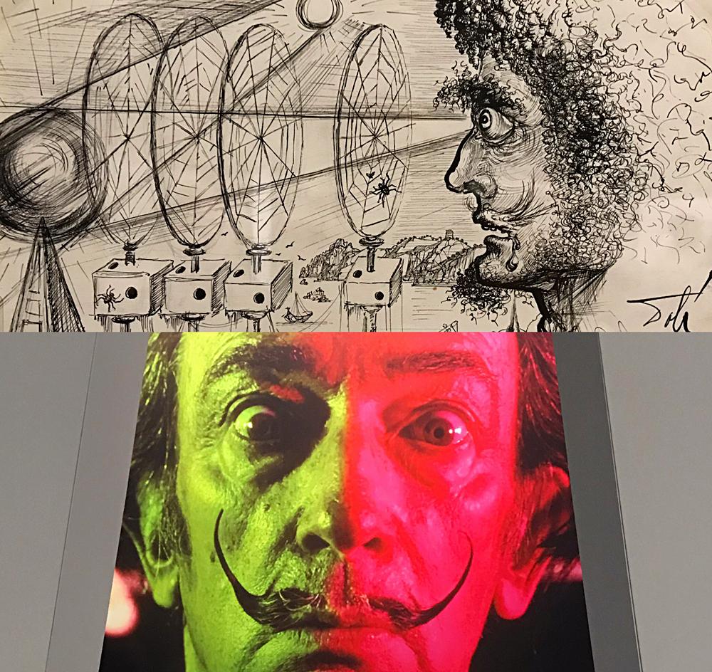 Utilisation rétrospective de l'aronarium pour le livre 50 secrets magiques en 1948; photographie de Dali par Warhol. Photos montage (c) Charlotte Longépé.