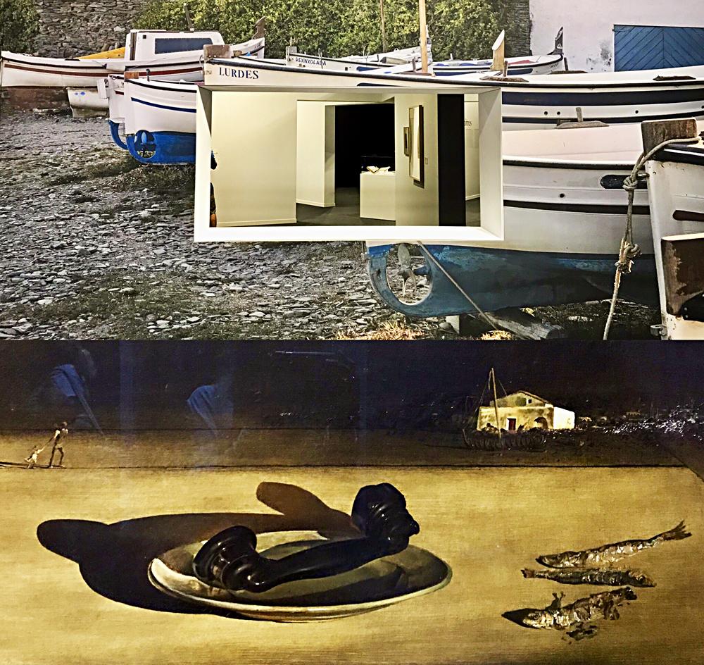 Décor de l'exposition reprenant des vues du port de Figueras; Violettes impériales, huile sur toile 1938. Photos montage (c) Charlotte Service-Longépé.