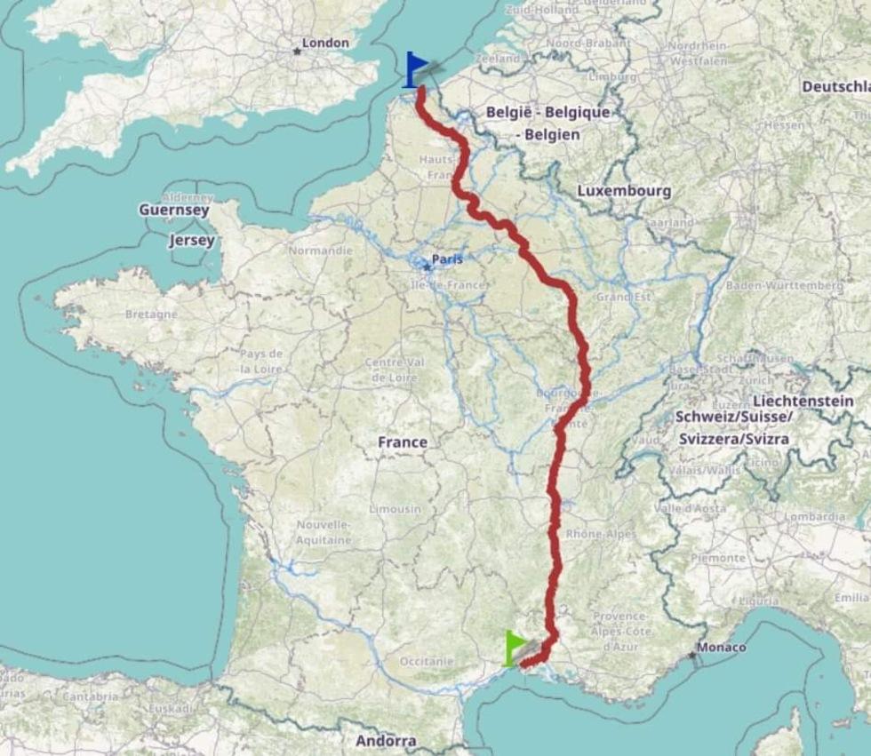 L'itinéraire Dunkerque - Le Grau-du-Roi © Voies navigables de France