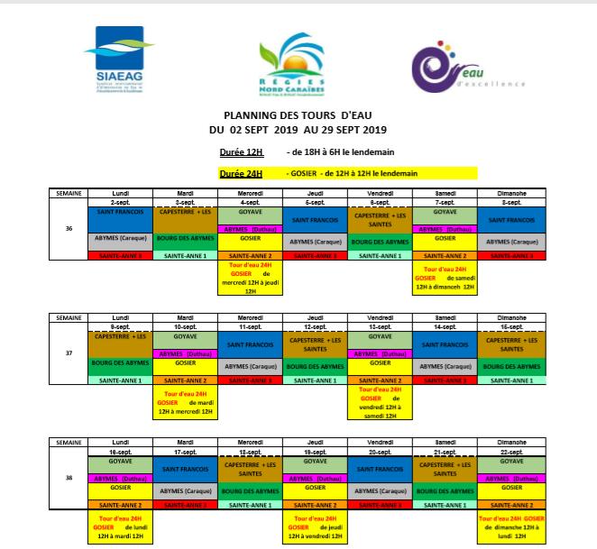 Le planning des tours d'eau pour le mois de septembre 2019 (c) SIAEAG