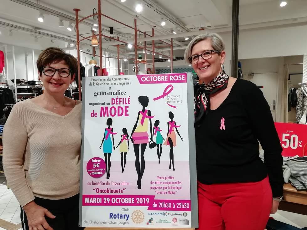 Sylvie Duhamel (à gauche), gérante de la boutique Grain de Malice de Leclerc Fagnières (51) et Patricia Delarbre (à droite), responsable de ce même magasin vous attendent avec impatience à la 3e édition du défilé de mode Octobre rose (c) M. Cugnot