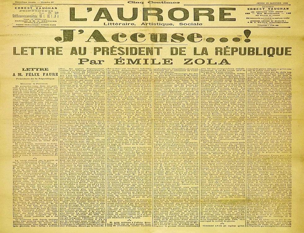 J'Accuse, dans le journal l'Aurore © Wikipédia