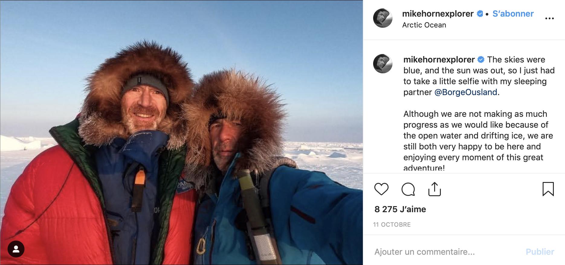 Pour Mike Horn la fin de cette aventure annonce la fin de son expedition pole2pole. En 2017, il avait traversé le Pole Sud via l'Antarctique, la première parti d'un défi qui se termine en décembre 2019 par la traversée de l'Arctique via le Pole Nord. Crédit Photo: Instagram @Mikehornexplorer