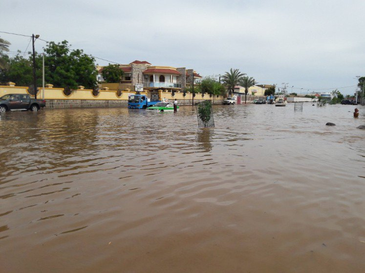 Artère inondée de la capitale Djibouti (C) Journal La Nation