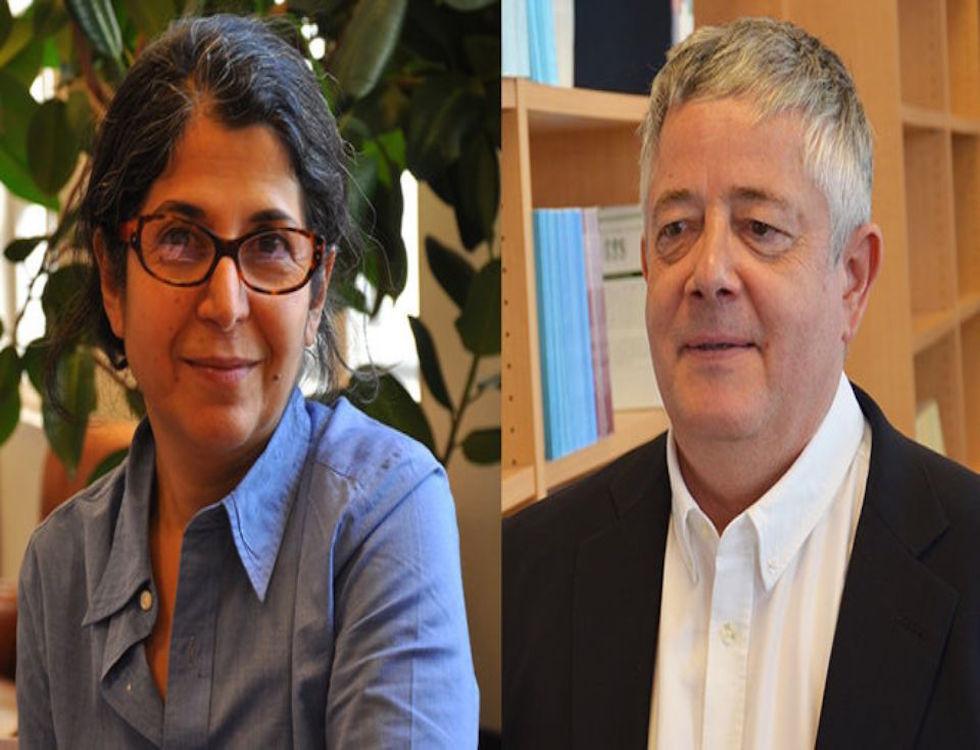Fariba Abdelkhah et Roland Marchal, photos diffusées massivement en France pour sensibiliser à leur disparition © affiches conférence de presse, Le Réseau d'Amis de Fariba et Roland