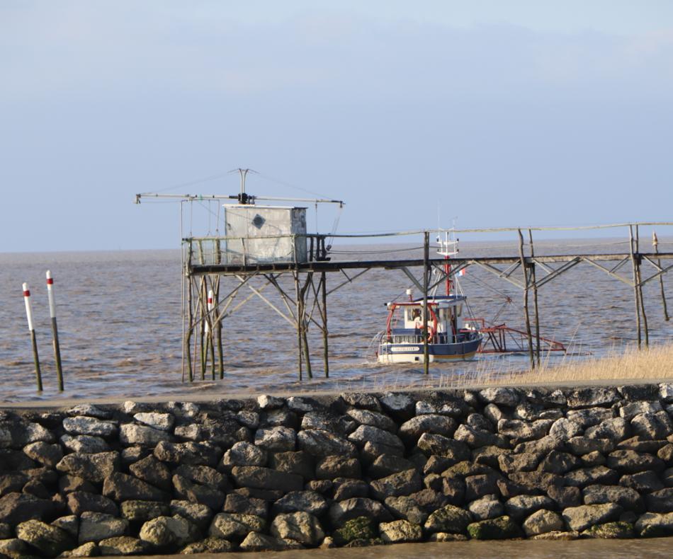 Carrelet de pêche à la sortie de l'estran, proche de Terres d'Oiseaux / © E.V.