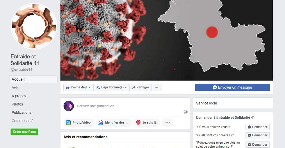 Page Facebook du groupe d'entraide et solidarité Loir-et-Cher 41 © capture d'écran