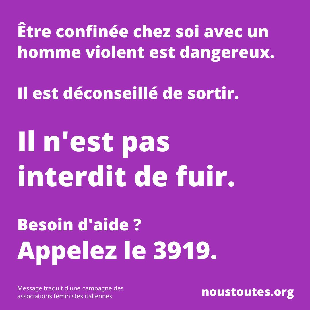 Post de intsagram #NousToutes au début du confinement (c) #NousToutes