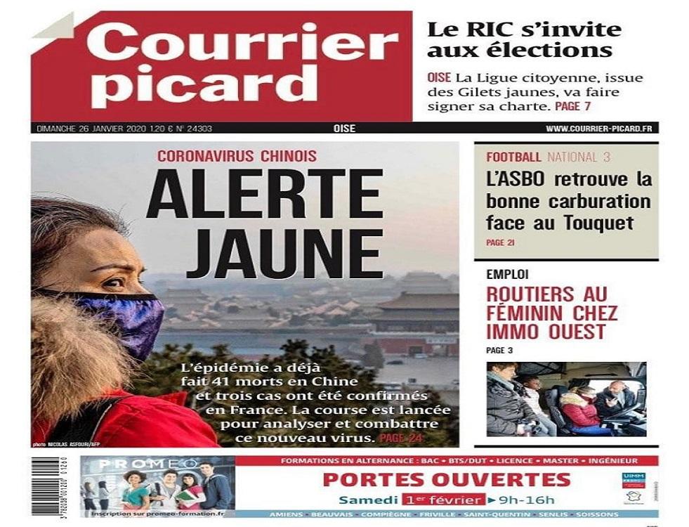 Le 26 janvier 2020, Le Courrier picard affichait en première page, la photo d'une femme asiatique avec pour titre « Alerte Jaune ». (c) Chine en Question