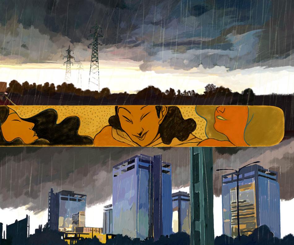 Exemple de paysages post-industriels que traversent les héros du récit./© Le Dieu Vagabond, Fabrizio Dori